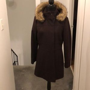 Winter coat/ brown with matching removable hood.